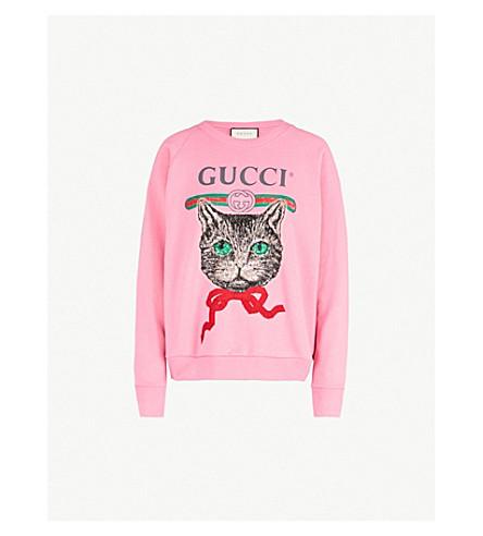 72b472de249 GUCCI Cat cotton-jersey sweatshirt (Pink