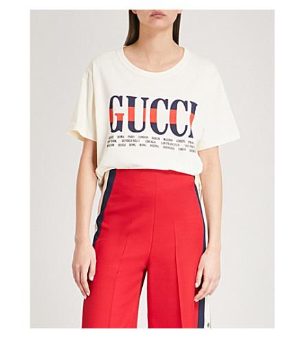 GUCCI Logo-print cotton-jersey T-shirt (Ivory