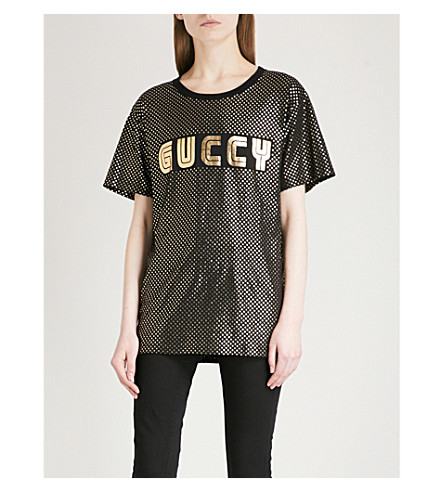 GUCCI Guccy cotton-jersey T-shirt (Black