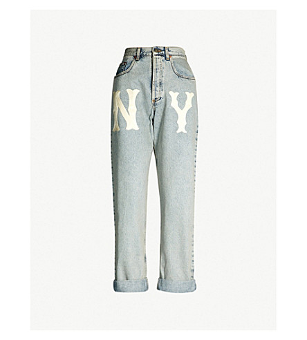 GUCCI NY Yankees™ patch mid-rise relaxed-fit jeans (Light blue multicolo