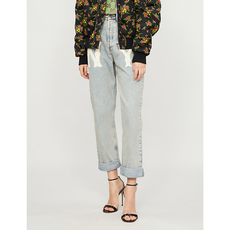 GUCCI NY YANKEES™ PATCH MID-RISE RELAXED-FIT JEANS