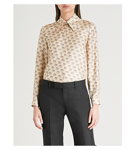 GUCCI Invite Stamp silk-twill shirt (Ivory