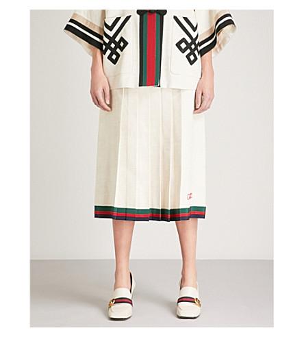 GUCCI Stripe-trimmed linen and silk-blend midi skirt (White