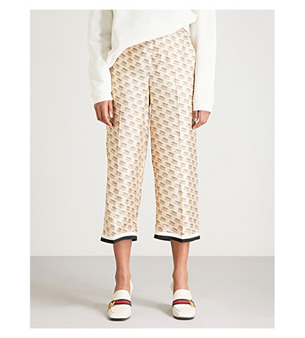 GUCCI Invite Stamp cropped silk trousers (Ivory