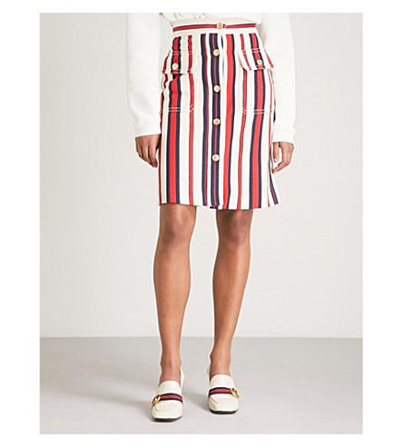 GUCCI Striped denim skirt (Blue/red/white