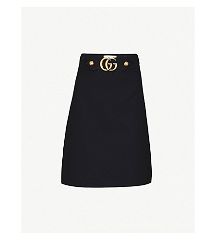 GUCCI GG belt high-rise wool-blend skirt (Black