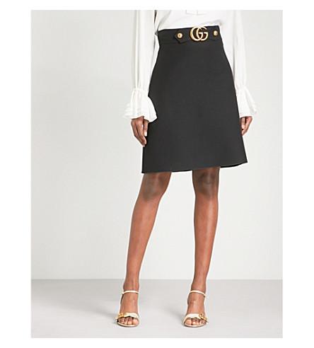 GUCCI GG belt high-rise wool-blend skirt (Black