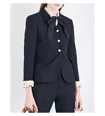 GUCCI Ruffled silk and wool-blend jacket (Black/white+ruffle