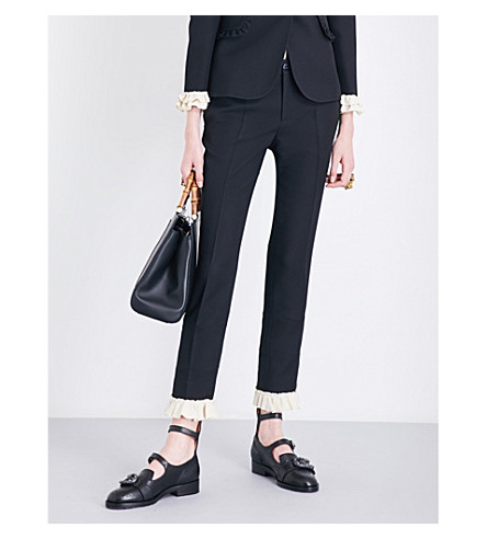 GUCCI Ruffled-cuff silk and wool-blend trousers (Black/white+ruffle