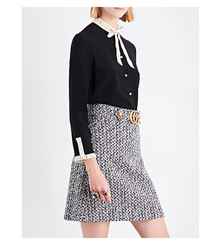 GUCCI Bow-collar silk top (Black/white+ruffle