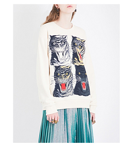 GUCCI Tiger-printed cotton-jersey sweatshirt (Natuarl+white+tiger