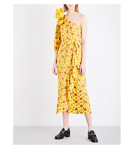GUCCI Floral-print silk-blend dress (Lemon