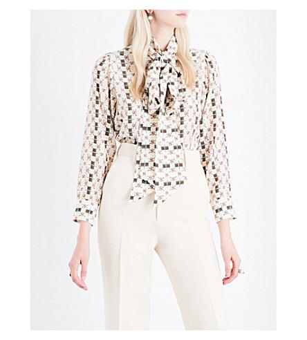GUCCI Pussy-bow monogram-print silk blouse (White+gucci+print