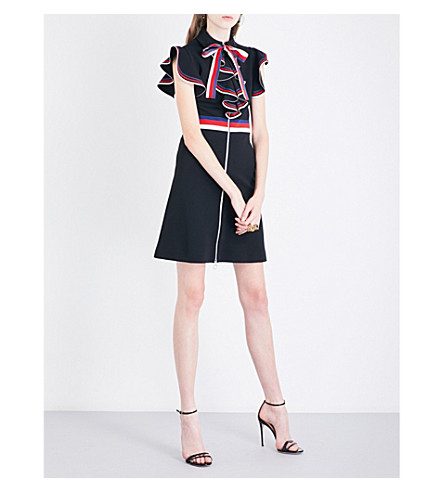 GUCCI Ruffled grosgrain-trimmed stretch-jersey dress (Black