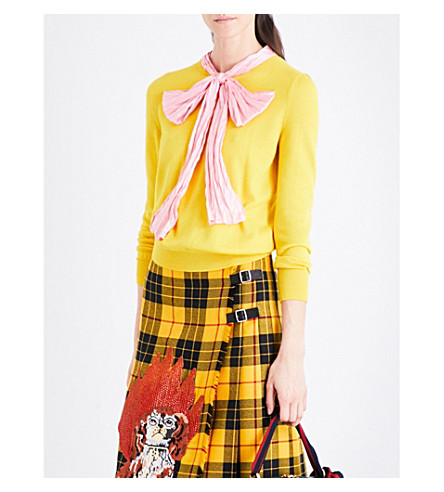 GUCCI Bow-detail cashmere and silk-blend jumper (Mimosa+yellow