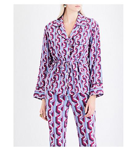 GUCCI Geometric-print silk-crepe shirt (Bue/lilac/+pink/blue