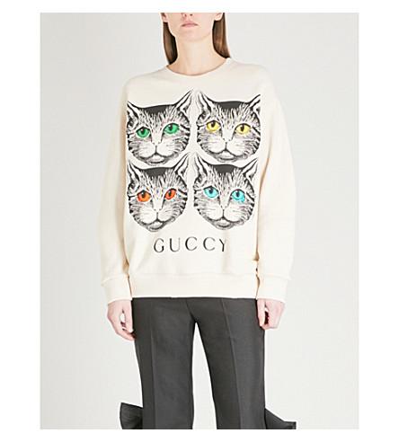 GUCCI Mystic Cat logo-print cotton-jersey sweatshirt (Ivory