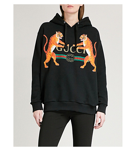 GUCCI Tiger cotton-jersey hoody (Black