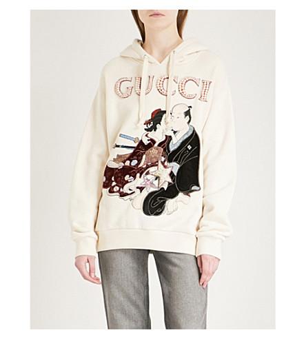 GUCCI Logo print cotton-jersey hoody (White