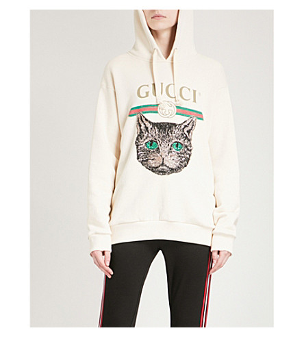 GUCCI Mystic Cat cotton-jersey hoody (White