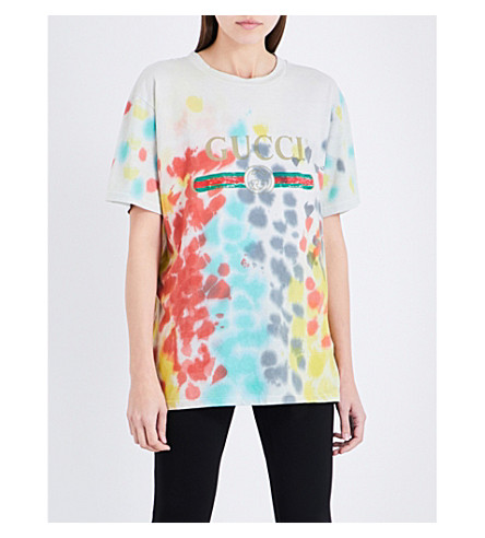 GUCCI Tie-dye logo-print cotton T-shirt (Multi