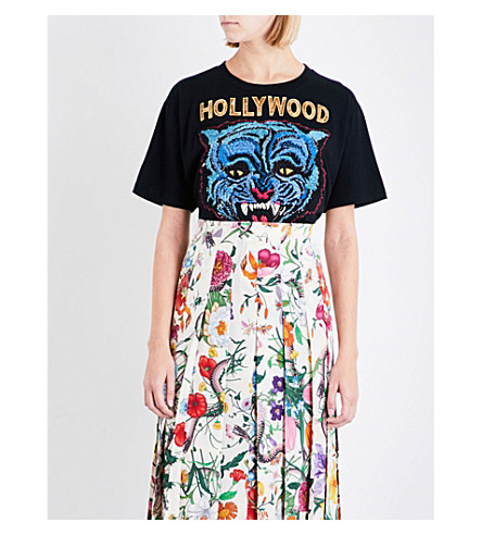 GUCCI Hollywood tiger-motif cotton T-shirt (Black