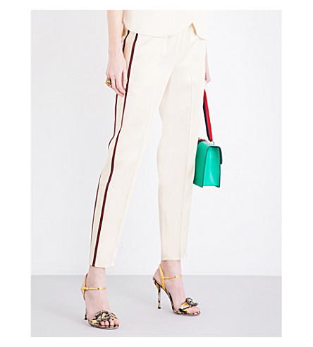 GUCCI Cropped satin trousers (Beige