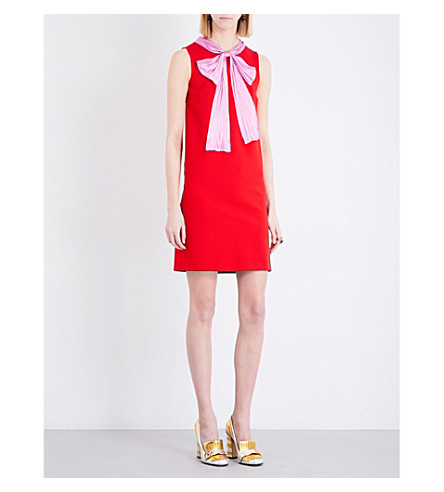 GUCCI Pussybow sleeveless silk dress (Red pink