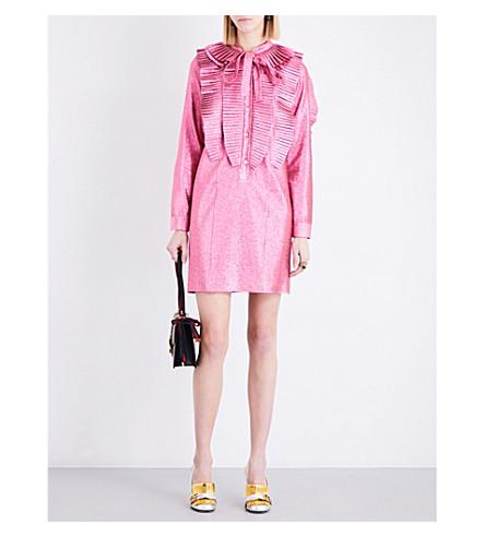 GUCCI Ruffled metallic dress (Pink