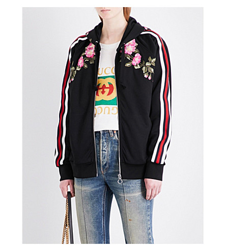 GUCCI Floral-embroidered jersey hoody (Black