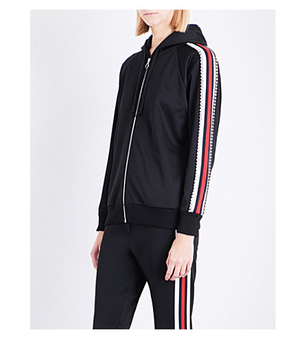 GUCCI Diamante-embellished piped jersey hoody (Black