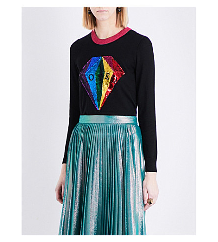 GUCCI Sequin-embroidered knitted jumper (Black