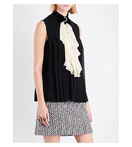 GUCCI Bow-collar pleated silk top (Black/white+ruffle