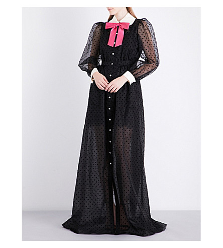 GUCCI Peter Pan-collar silk gown (Black