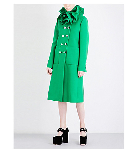 GUCCI Frilled-collar wool coat (Tropical+green