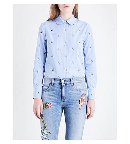 GUCCI Striped and embroidered-rabbit patterned cotton-poplin shirt (Baby+blue+with+rabbit