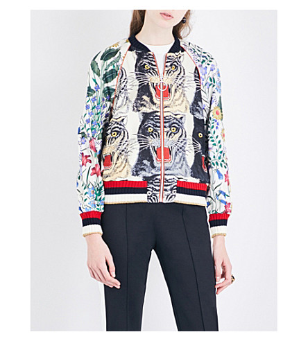 GUCCI Floral and tiger-printed silk-twill jacket (White+tiger+prt