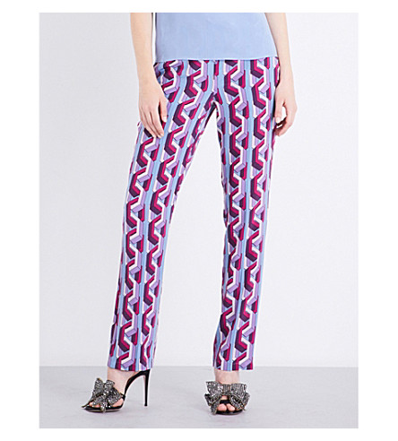 GUCCI Geometric-pattern high-rise silk trousers (Bue/lilac/+pink/blue