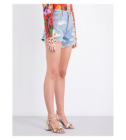 GUCCI Eyelet-detail distressed high-rise denim shorts (Blue