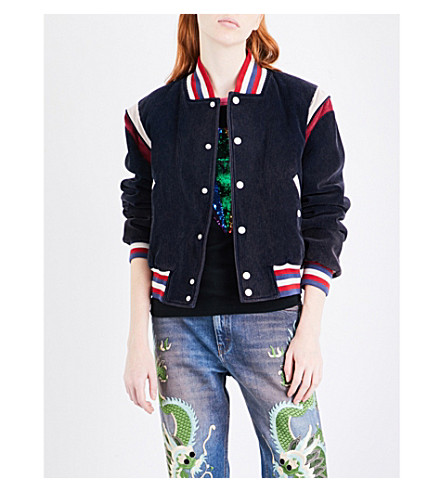 GUCCI Embroidered cotton-corduroy jacket (Blue/multi
