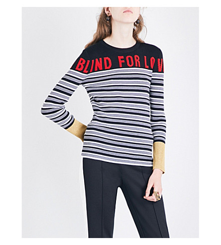 GUCCI Blind For Love striped cashmere and silk-blend jumper (Black/ivory/red