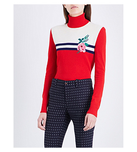 GUCCI Floral-embroidered turtleneck wool and cashmere-blend jumper (Ladybug+red