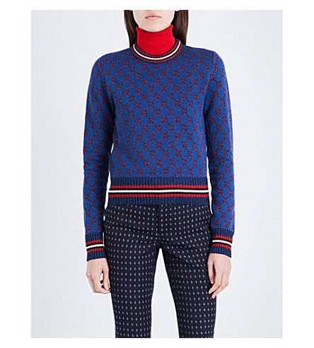 GUCCI Monogram metallic-knit wool and silk-blend jumper (Blue+with+gg+red