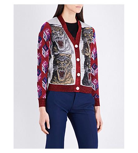 GUCCI Glitter tiger cardigan (Silver/red/multi