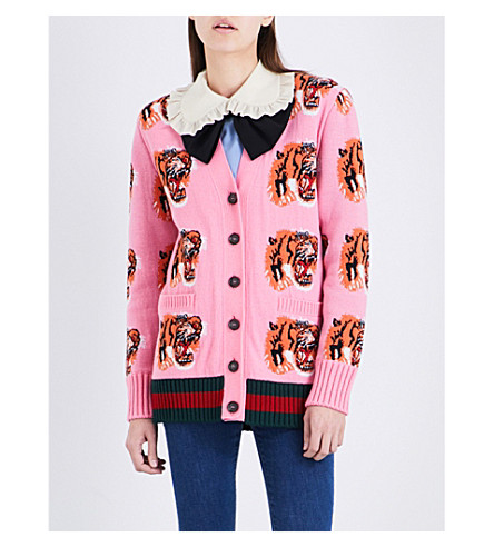 GUCCI Tiger-embroidered wool cardigan (Pink+tiger+print