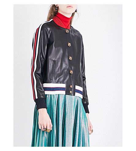 GUCCI Embroidered leather bomber jacket (Black/multi