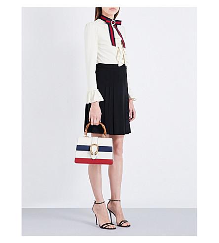 GUCCI Grosgrain-trim flared crepe dress (Ivory/black/blue/red