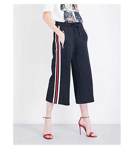GUCCI Striped-sides jersey trousers (Black