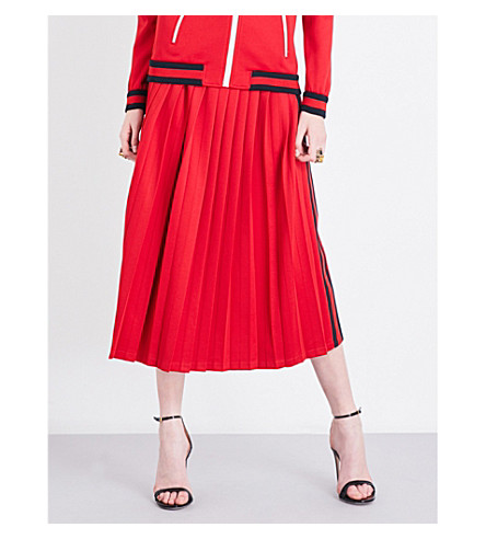 GUCCI Striped-sides jersey skirt (Red