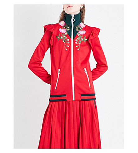 GUCCI Turtleneck embroidered jersey jacket (Red